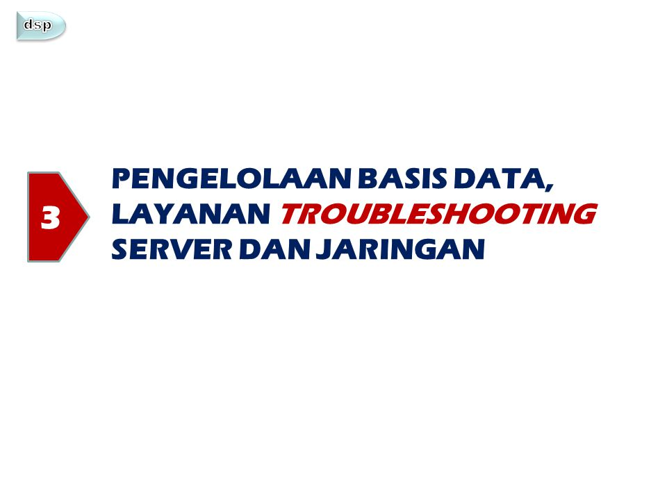 3 PENGELOLAAN BASIS DATA, LAYANAN TROUBLESHOOTING SERVER DAN JARINGAN