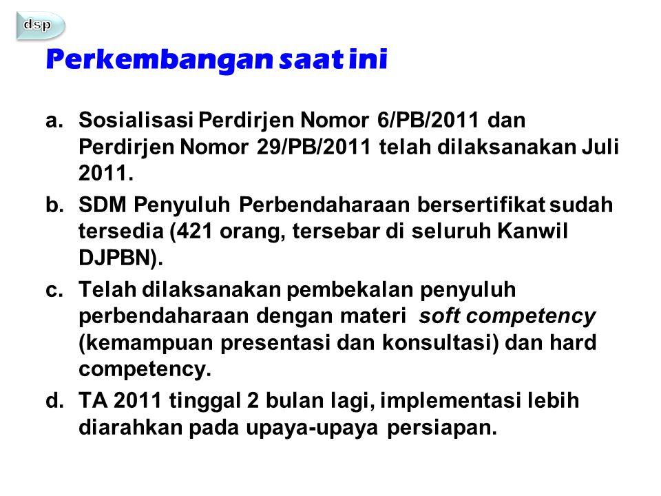dsp Perkembangan saat ini. Sosialisasi Perdirjen Nomor 6/PB/2011 dan Perdirjen Nomor 29/PB/2011 telah dilaksanakan Juli 2011.