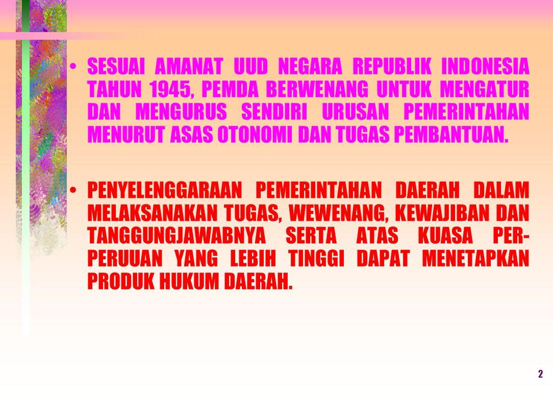 SESUAI AMANAT UUD NEGARA REPUBLIK INDONESIA TAHUN 1945, PEMDA BERWENANG UNTUK MENGATUR DAN MENGURUS SENDIRI URUSAN PEMERINTAHAN MENURUT ASAS OTONOMI DAN TUGAS PEMBANTUAN.