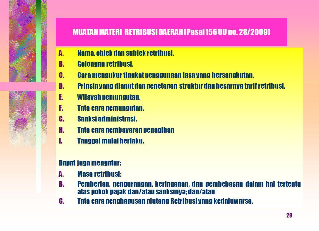 MUATAN MATERI RETRIBUSI DAERAH (Pasal 156 UU no. 28/2009)