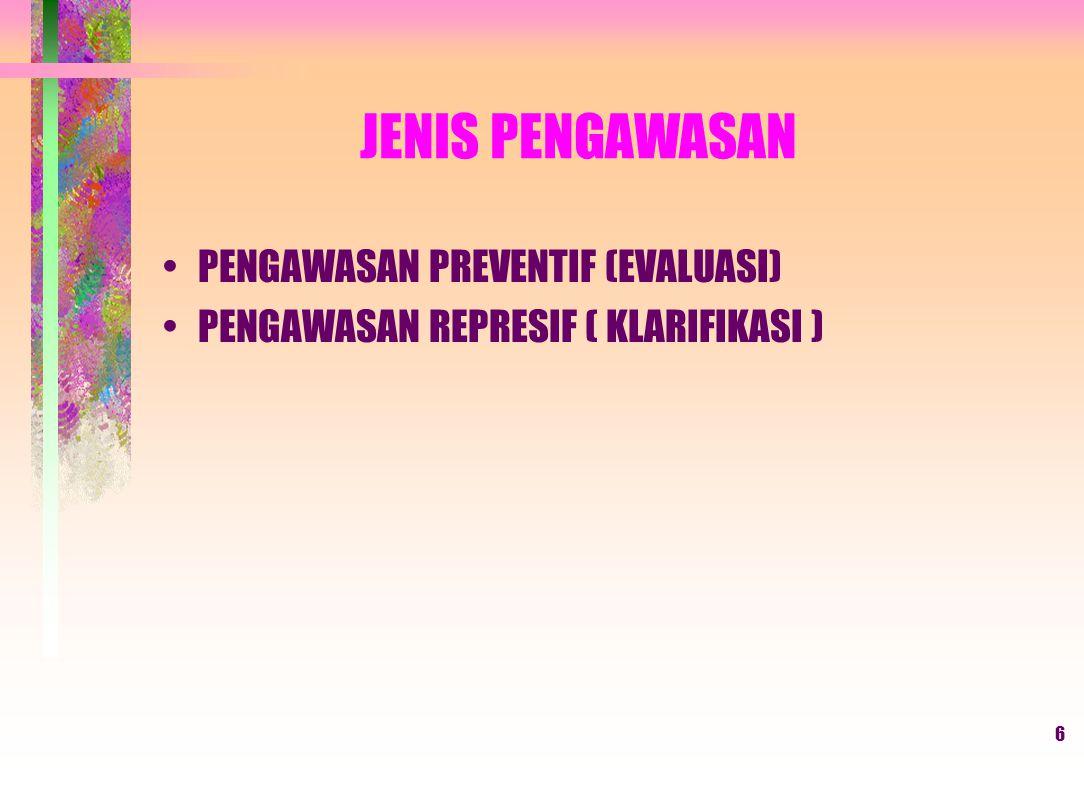 JENIS PENGAWASAN PENGAWASAN PREVENTIF (EVALUASI)