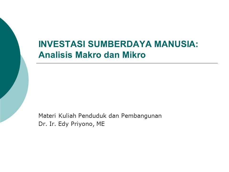 INVESTASI SUMBERDAYA MANUSIA: Analisis Makro dan Mikro