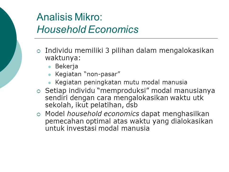 Analisis Mikro: Household Economics
