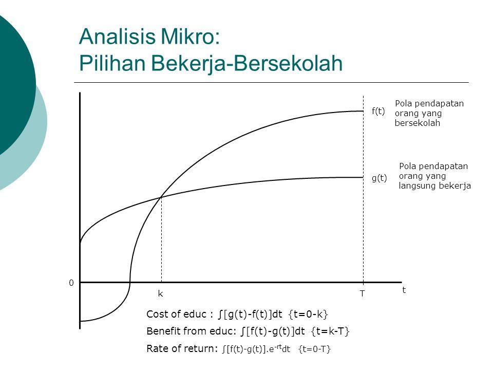 Analisis Mikro: Pilihan Bekerja-Bersekolah