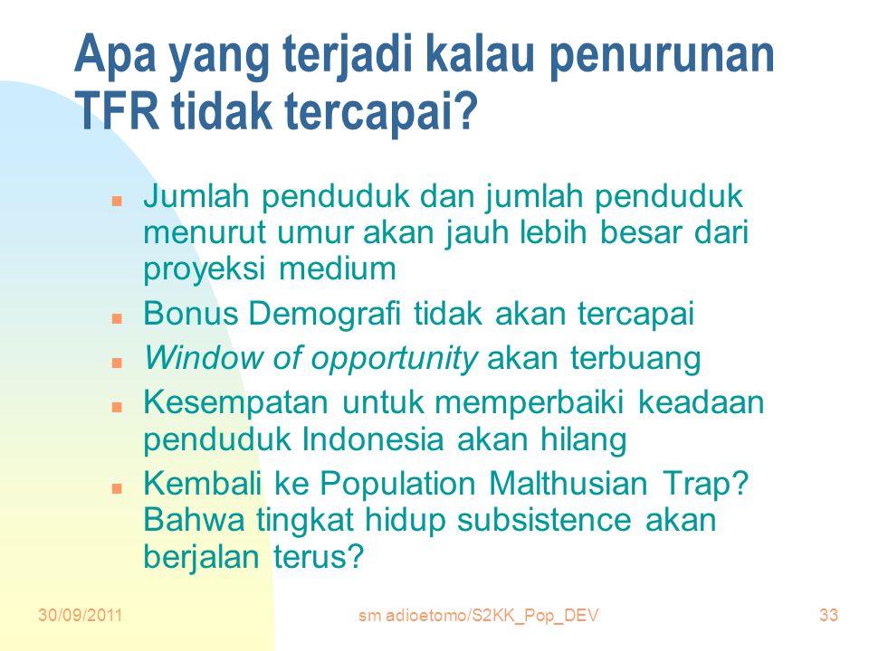 Apa yang terjadi kalau penurunan TFR tidak tercapai