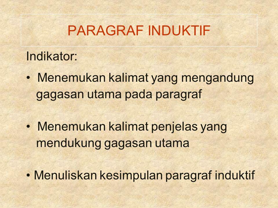 PARAGRAF INDUKTIF Indikator: Menemukan kalimat yang mengandung