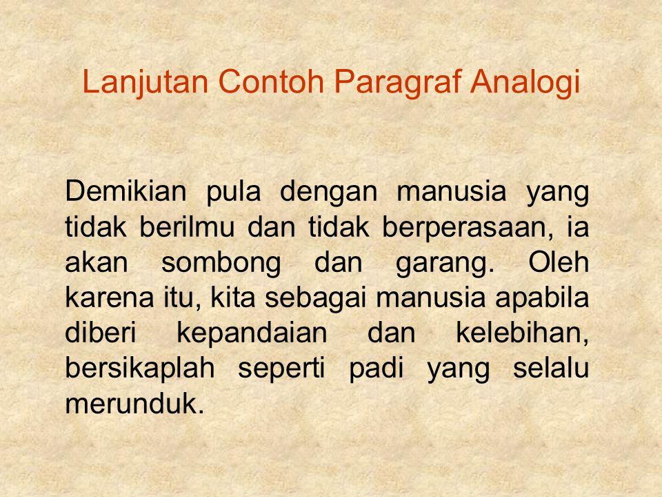 Lanjutan Contoh Paragraf Analogi