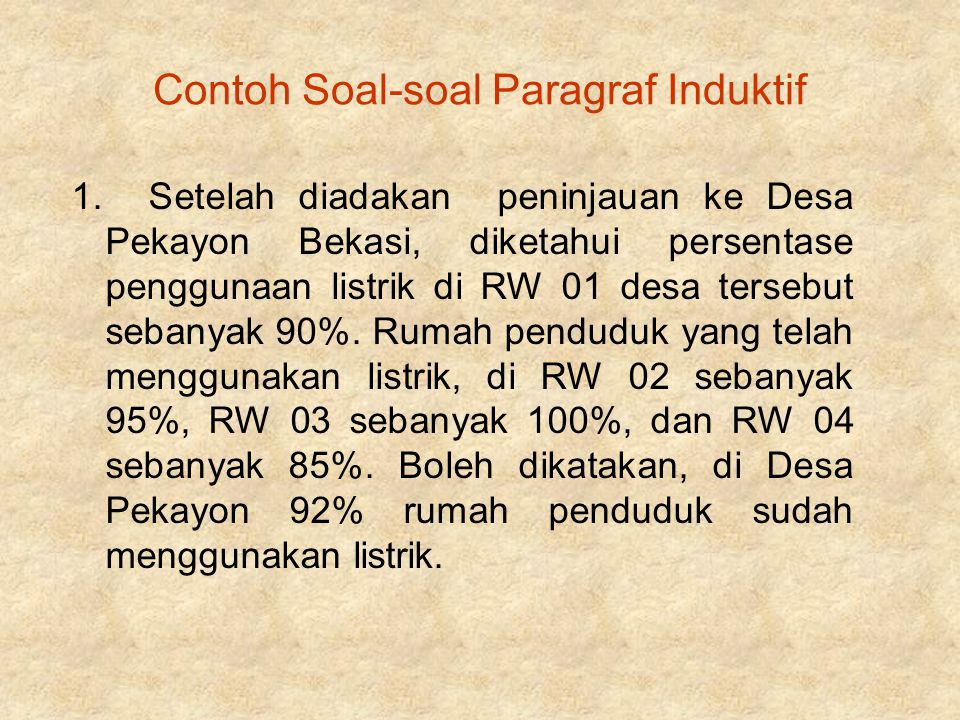Contoh Soal-soal Paragraf Induktif