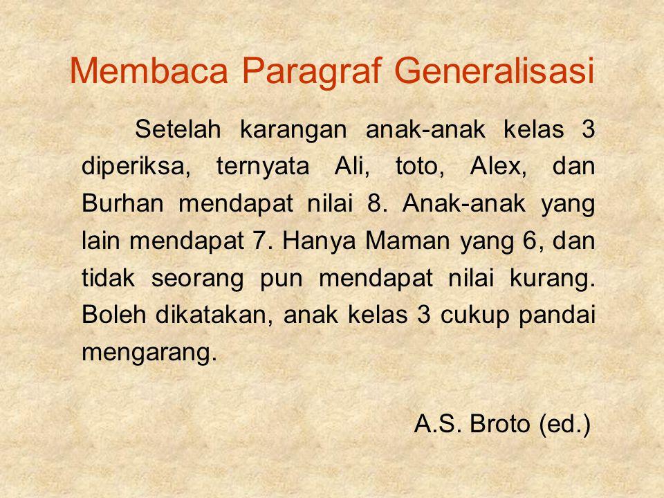 Membaca Paragraf Generalisasi