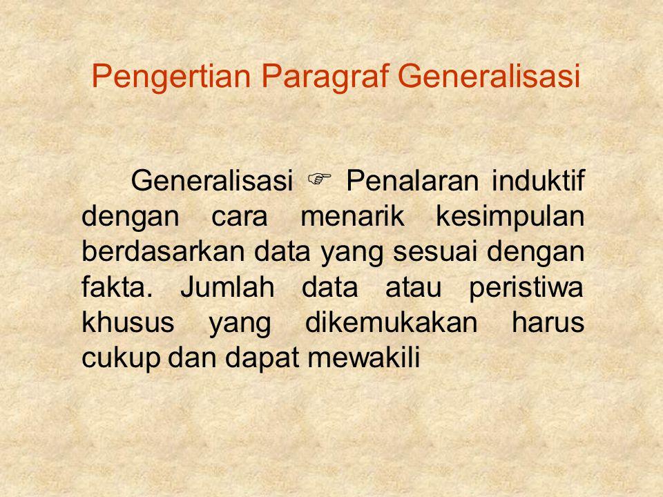Pengertian Paragraf Generalisasi