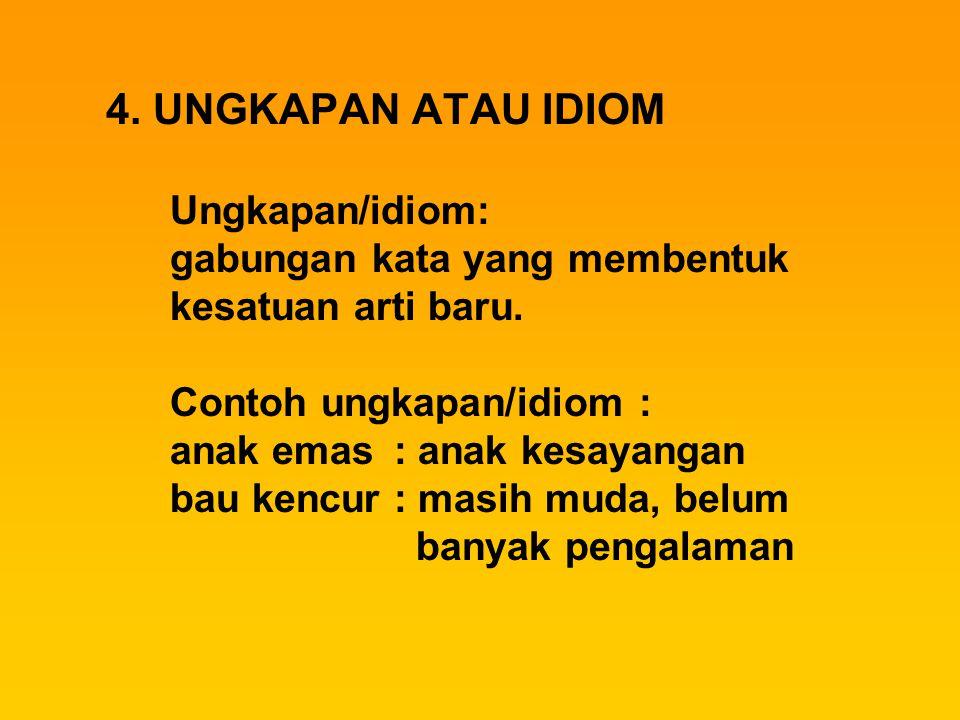 4. UNGKAPAN ATAU IDIOM Ungkapan/idiom: gabungan kata yang membentuk