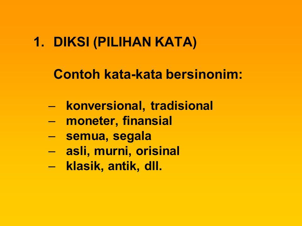 DIKSI (PILIHAN KATA) konversional, tradisional moneter, finansial