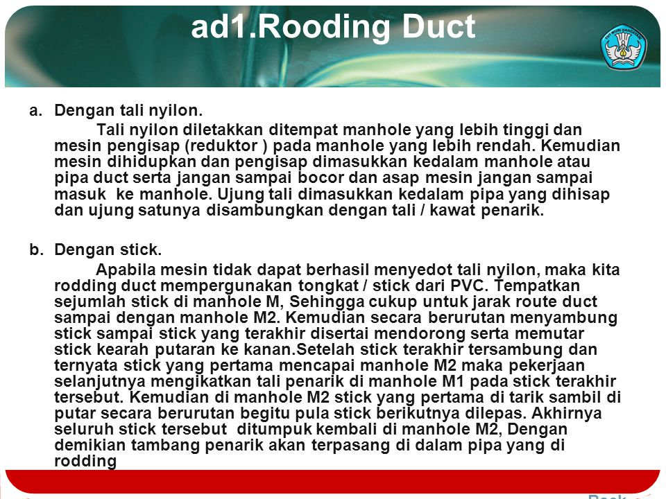 ad1.Rooding Duct a. Dengan tali nyilon.