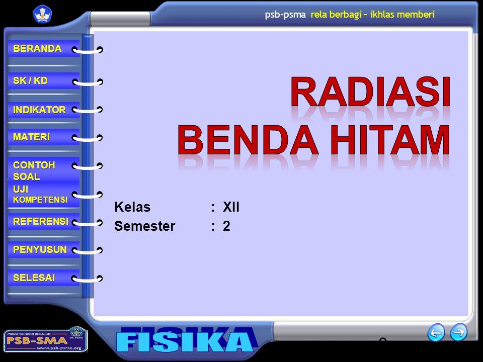 RADIASI BENDA HITAM Kelas : XII Semester : 2