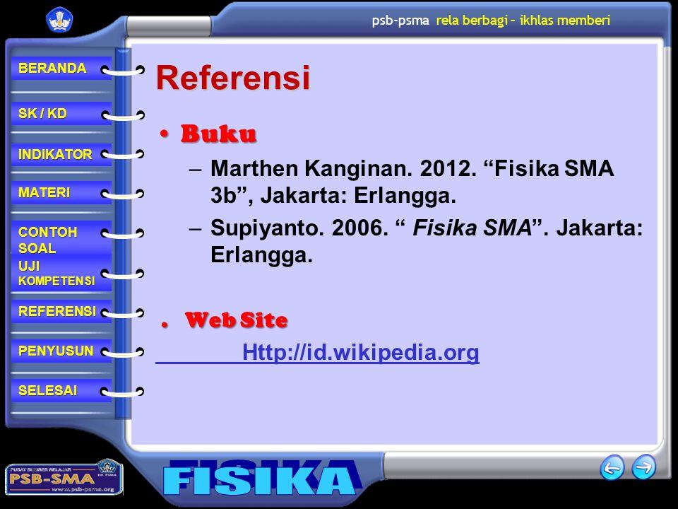 Referensi Buku. Marthen Kanginan. 2012. Fisika SMA 3b , Jakarta: Erlangga. Supiyanto. 2006. Fisika SMA . Jakarta: Erlangga.