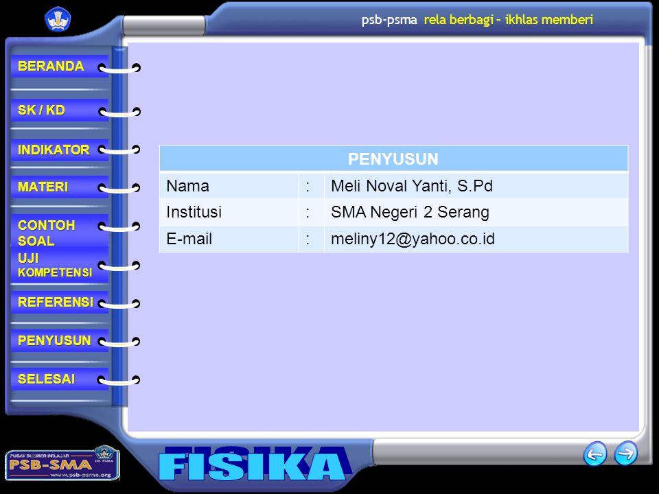 PENYUSUN Nama : Meli Noval Yanti, S.Pd Institusi SMA Negeri 2 Serang E-mail meliny12@yahoo.co.id