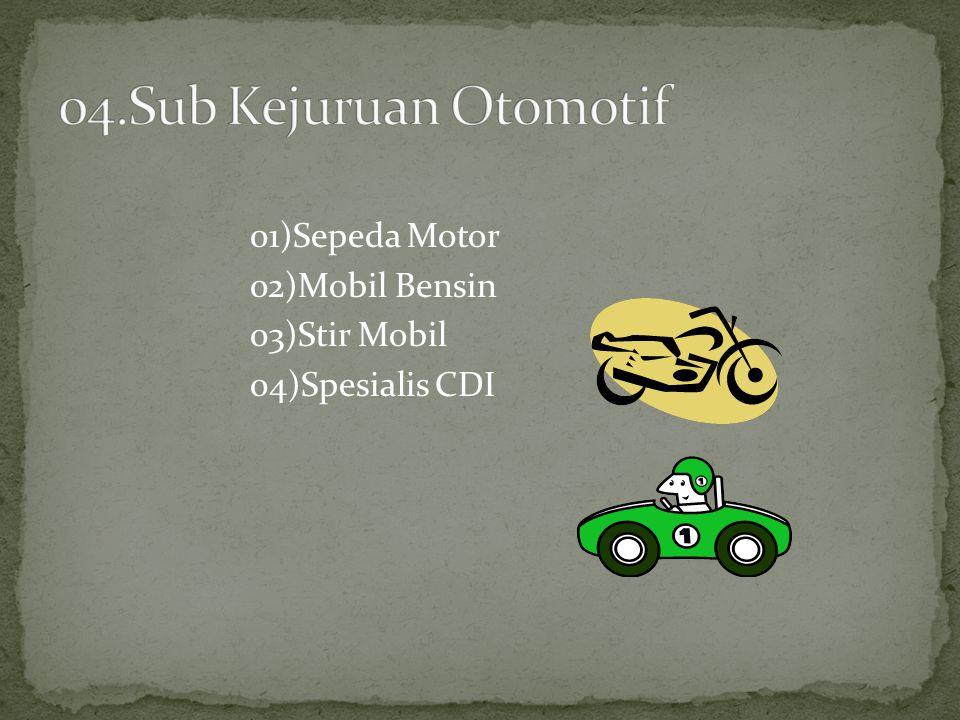04.Sub Kejuruan Otomotif 01)Sepeda Motor 02)Mobil Bensin 03)Stir Mobil 04)Spesialis CDI