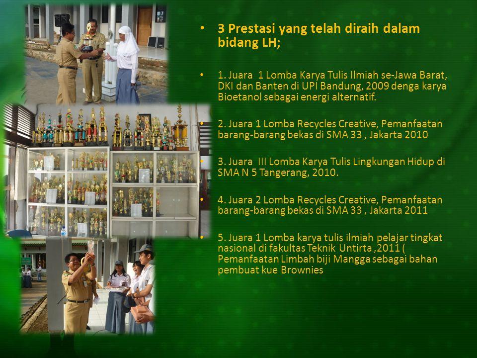 3 Prestasi yang telah diraih dalam bidang LH;