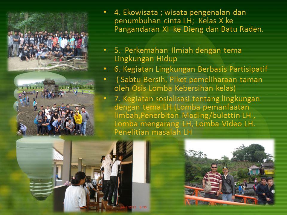 4. Ekowisata ; wisata pengenalan dan penumbuhan cinta LH; Kelas X ke Pangandaran XI ke Dieng dan Batu Raden.