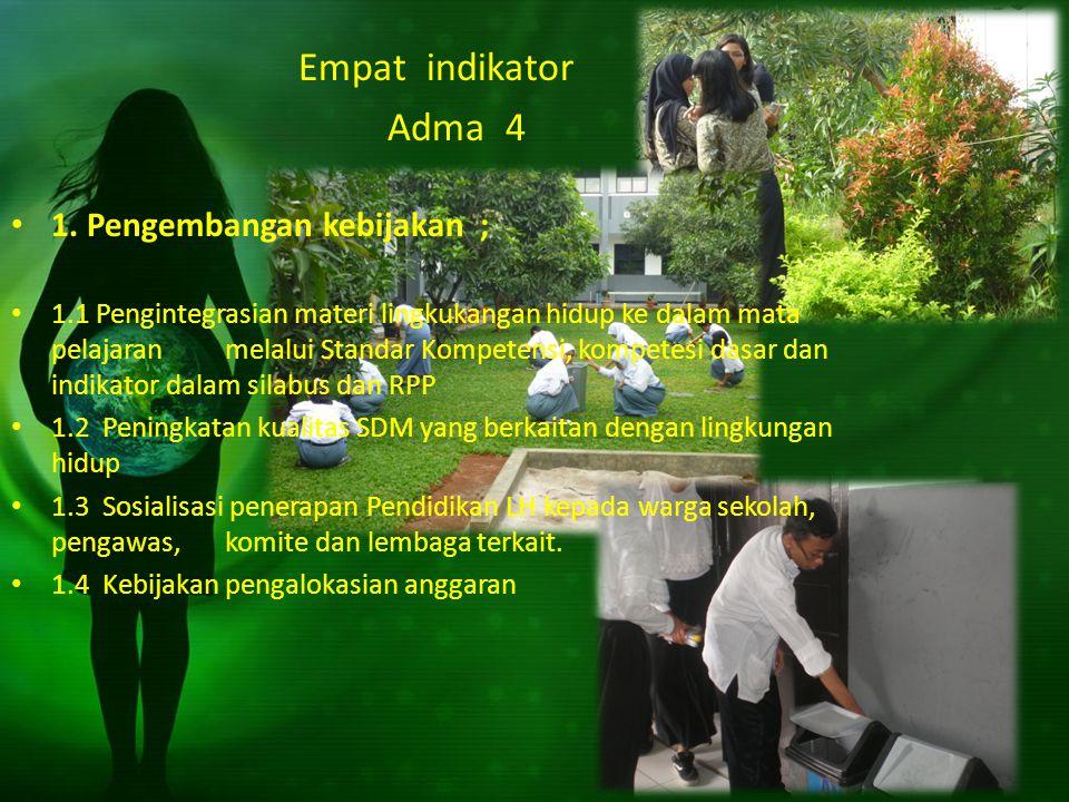 Empat indikator Adma 4 1. Pengembangan kebijakan ;