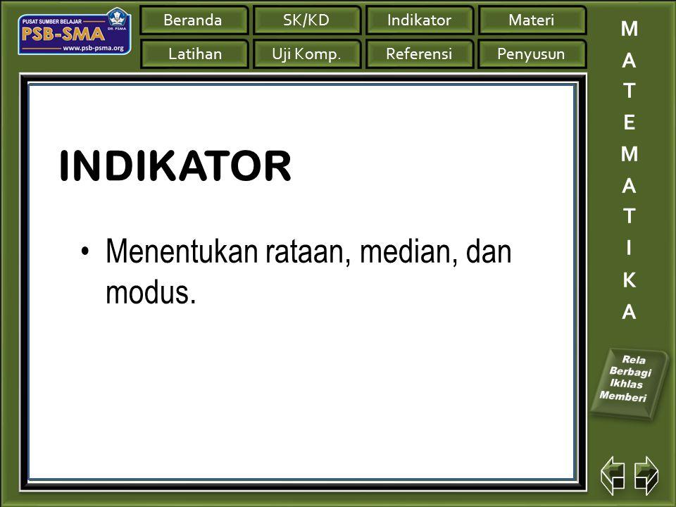 INDIKATOR Menentukan rataan, median, dan modus.