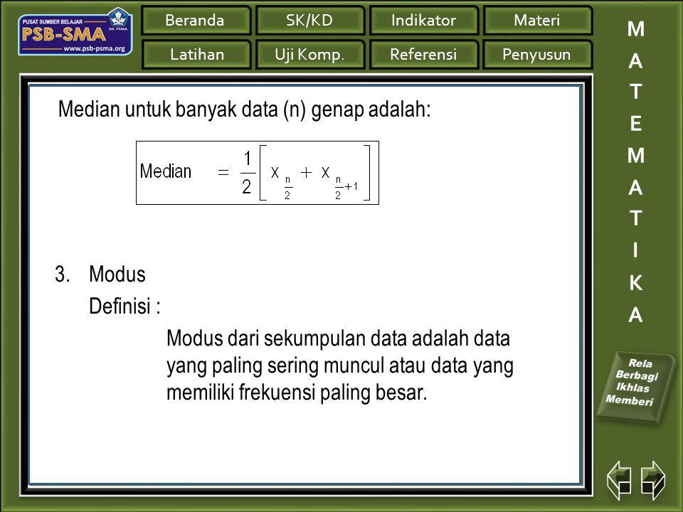Median untuk banyak data (n) genap adalah: