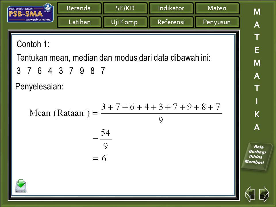 Contoh 1: Tentukan mean, median dan modus dari data dibawah ini: 3 7 6 4 3 7 9 8 7.