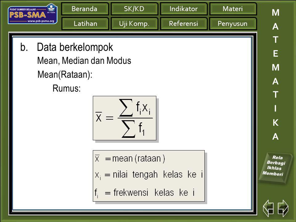 Data berkelompok Mean, Median dan Modus Mean(Rataan): Rumus: