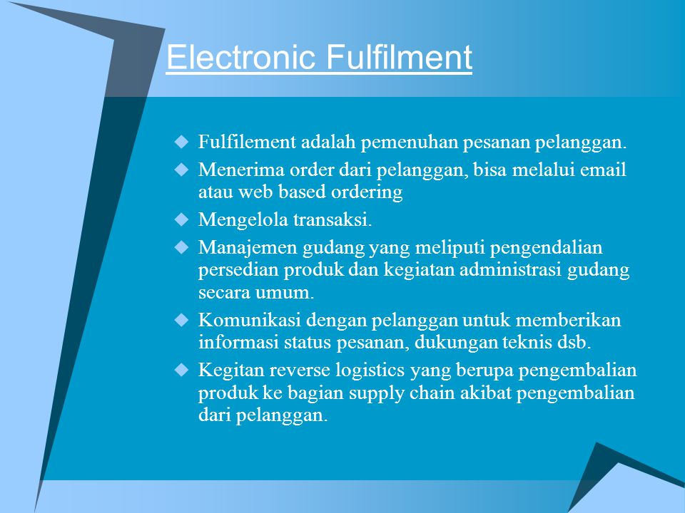Electronic Fulfilment