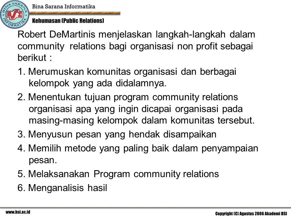 Robert DeMartinis menjelaskan langkah-langkah dalam community relations bagi organisasi non profit sebagai berikut :