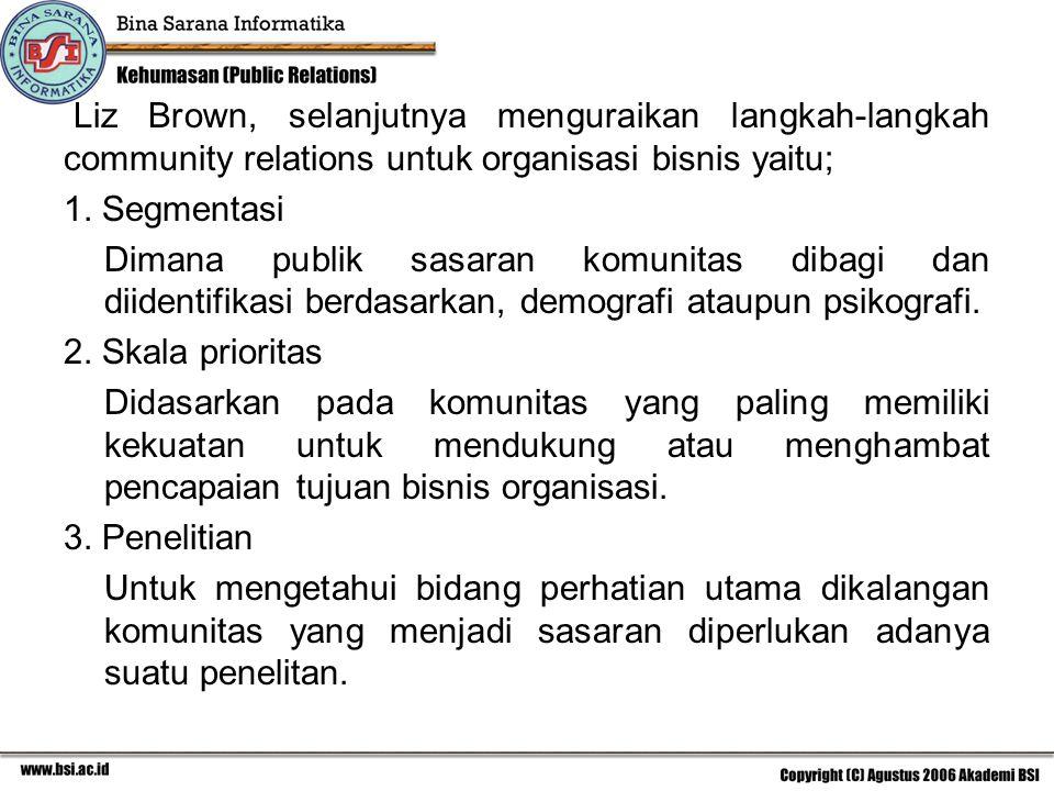 Liz Brown, selanjutnya menguraikan langkah-langkah community relations untuk organisasi bisnis yaitu;