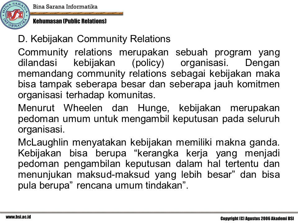 D. Kebijakan Community Relations