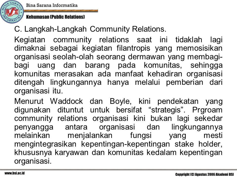 C. Langkah-Langkah Community Relations.