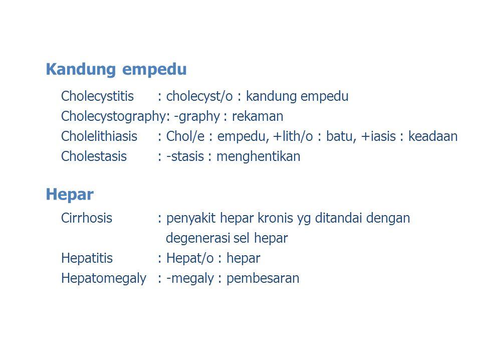 Kandung empedu Hepar Cholecystitis : cholecyst/o : kandung empedu
