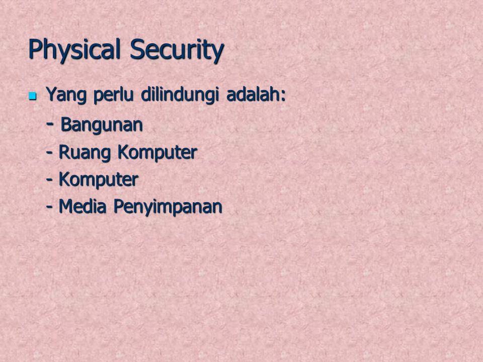Physical Security - Bangunan Yang perlu dilindungi adalah: