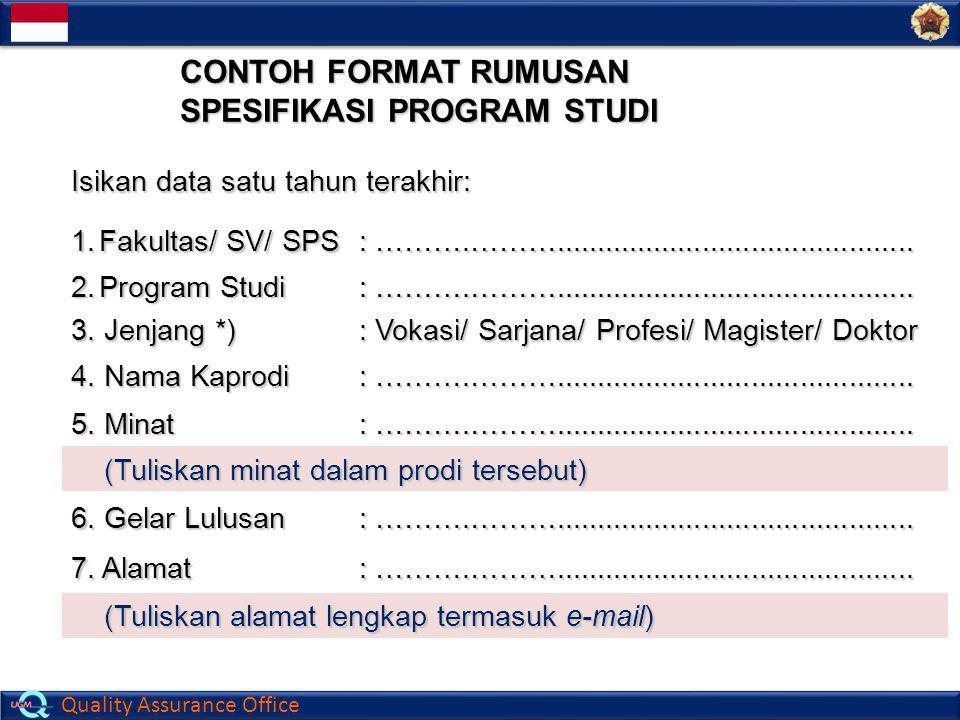 CONTOH FORMAT RUMUSAN SPESIFIKASI PROGRAM STUDI