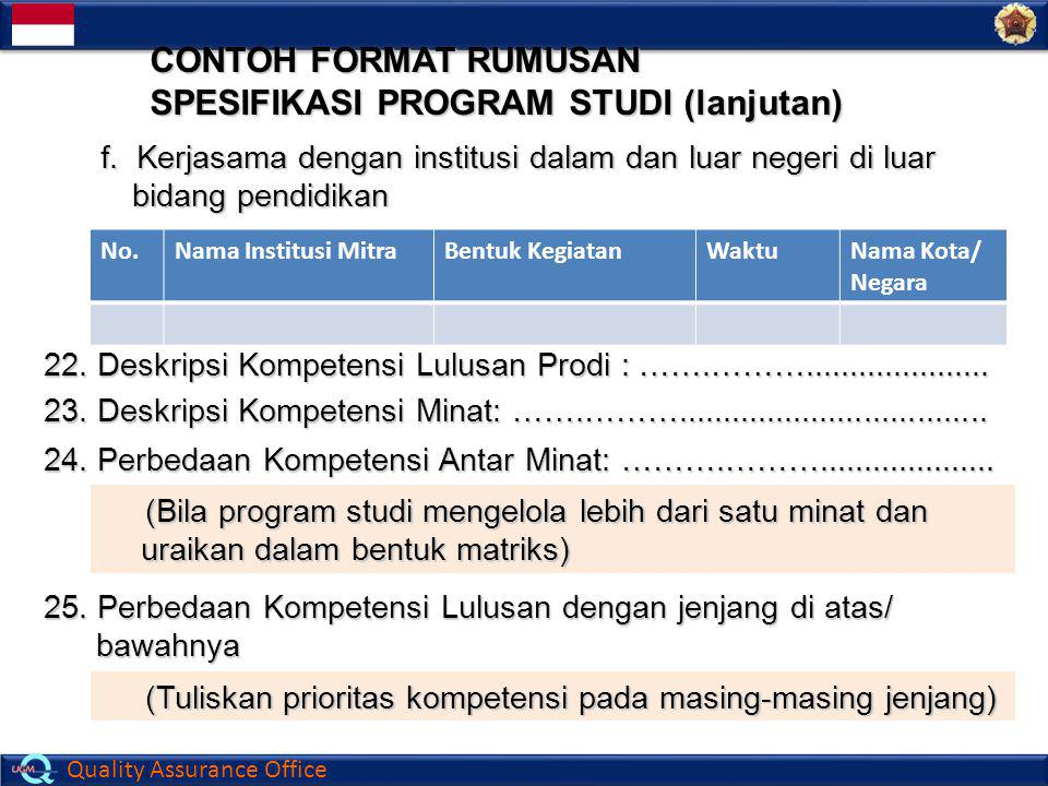 CONTOH FORMAT RUMUSAN SPESIFIKASI PROGRAM STUDI (lanjutan)
