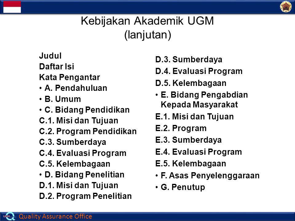 Kebijakan Akademik UGM (lanjutan)