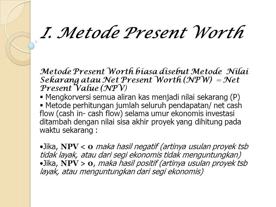 I. Metode Present Worth Metode Present Worth biasa disebut Metode Nilai Sekarang atau Net Present Worth (NPW) = Net Present Value (NPV)