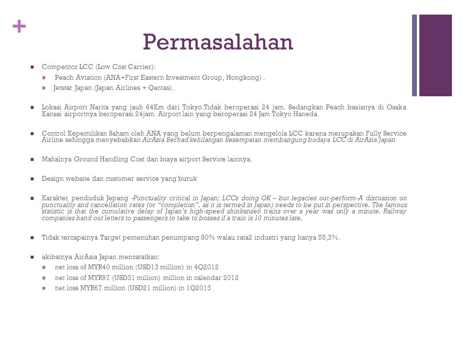 Permasalahan Competitor LCC (Low Cost Carrier):