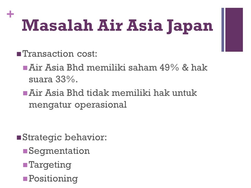 Masalah Air Asia Japan Transaction cost: