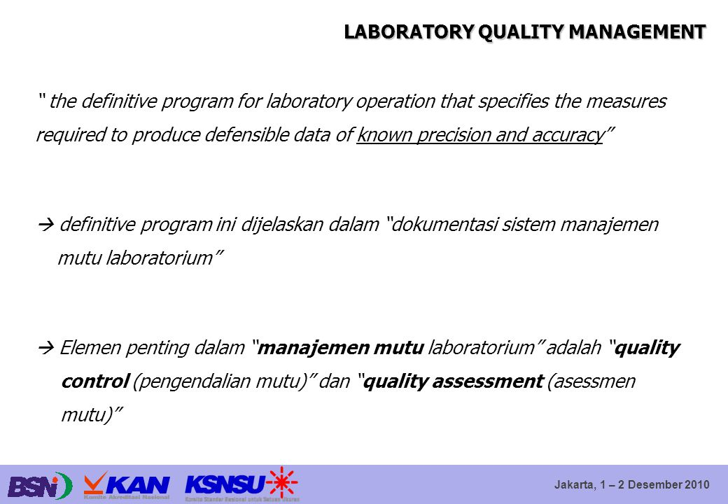 LABORATORY QUALITY MANAGEMENT