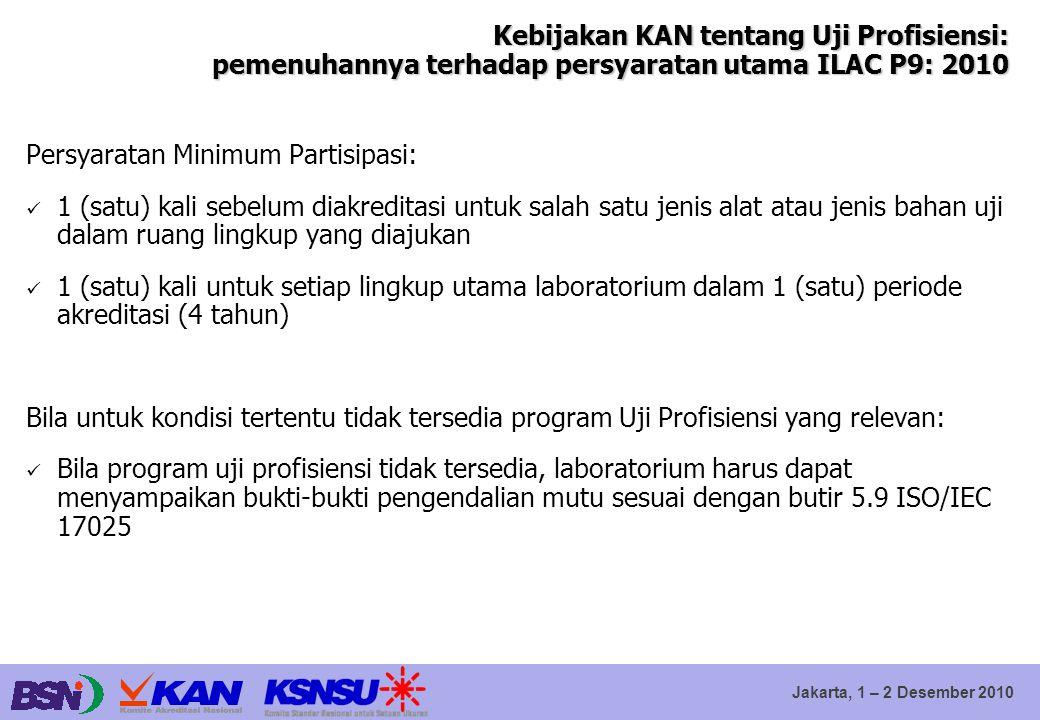 Kebijakan KAN tentang Uji Profisiensi: pemenuhannya terhadap persyaratan utama ILAC P9: 2010