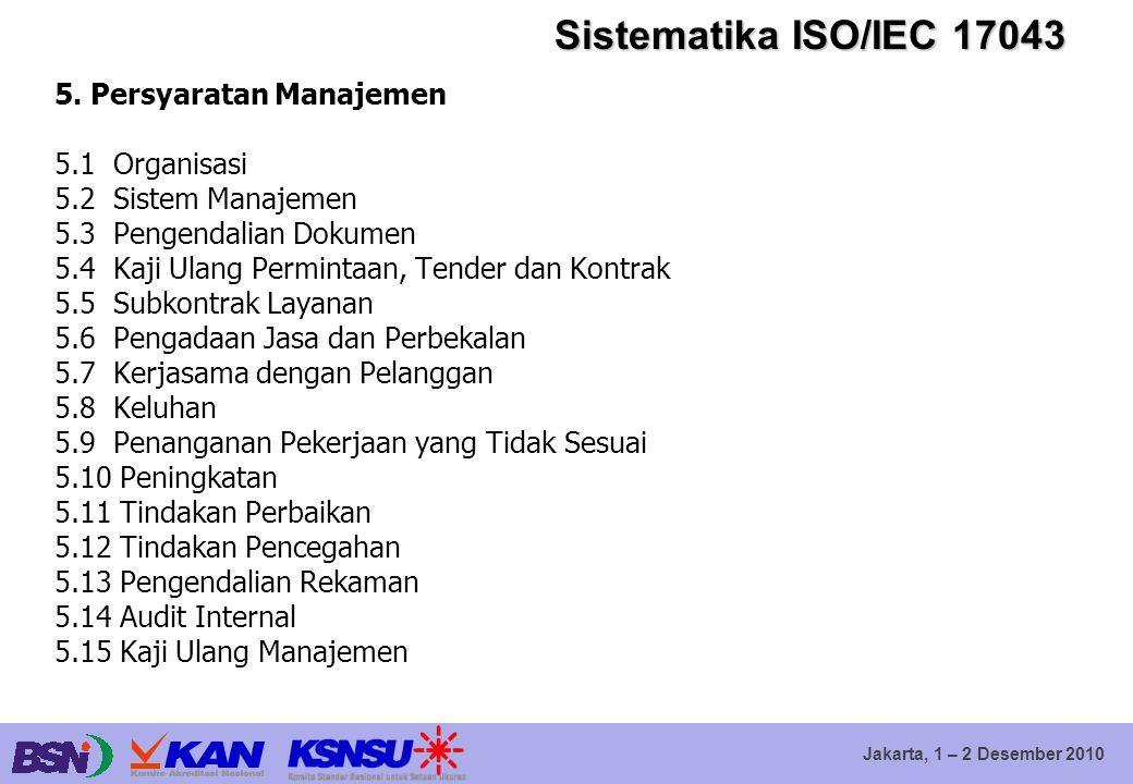 Sistematika ISO/IEC 17043 5. Persyaratan Manajemen 5.1 Organisasi