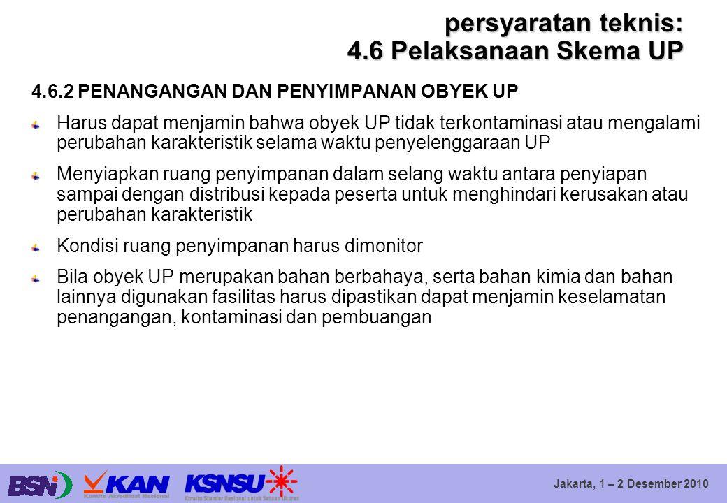 persyaratan teknis: 4.6 Pelaksanaan Skema UP