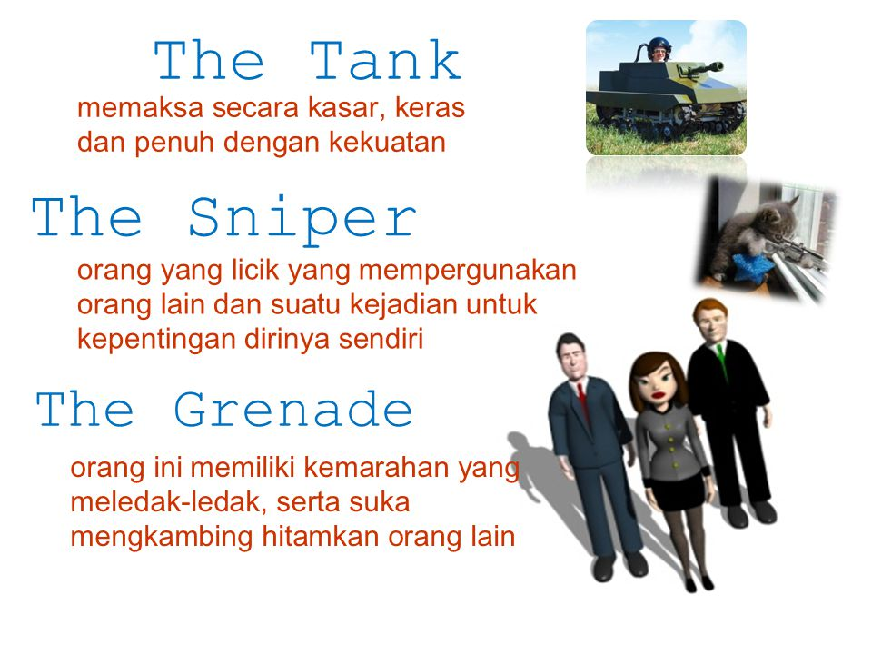 The Tank The Sniper The Grenade