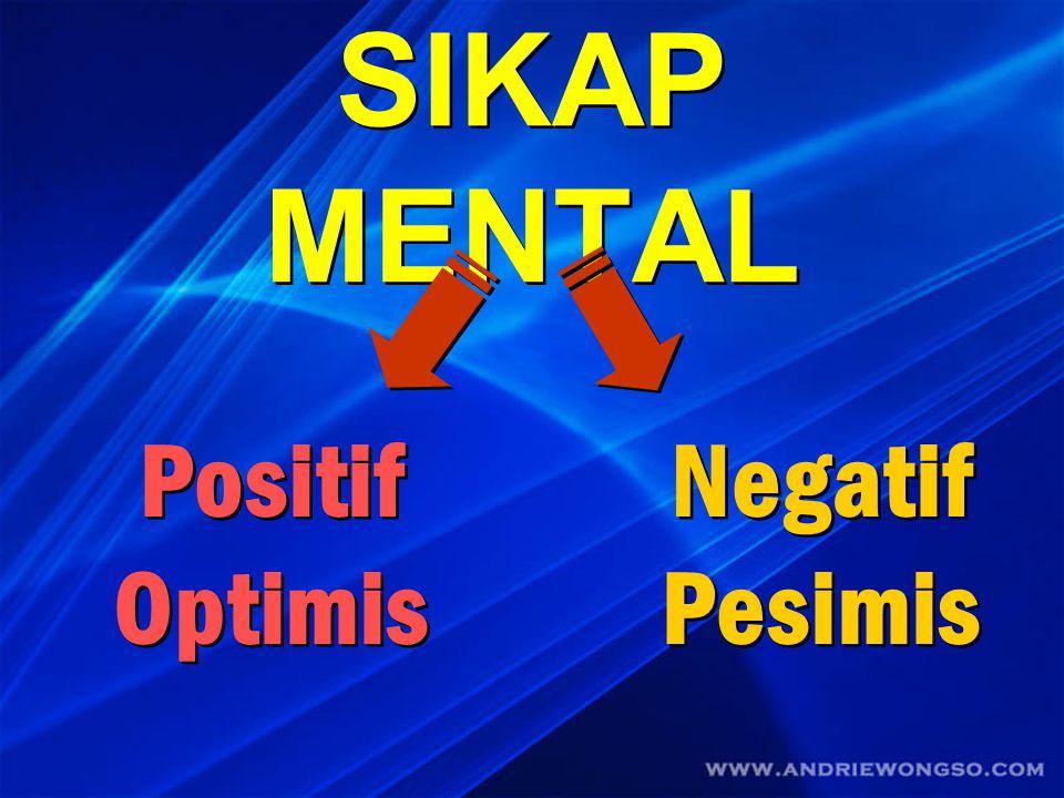 SIKAP MENTAL Positif Optimis Negatif Pesimis