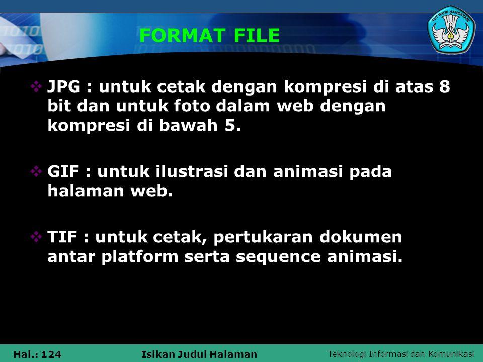FORMAT FILE JPG : untuk cetak dengan kompresi di atas 8 bit dan untuk foto dalam web dengan kompresi di bawah 5.