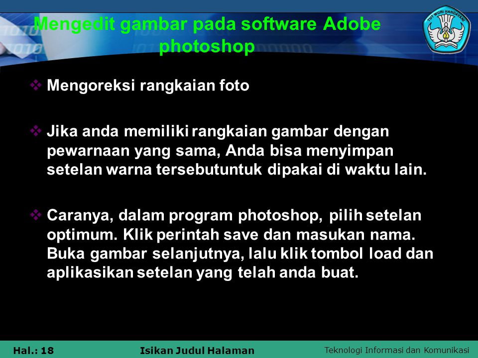 Mengedit gambar pada software Adobe photoshop