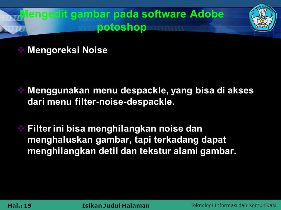 Mengedit gambar pada software Adobe potoshop